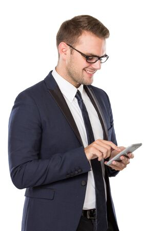 well build: portrait of Businessman using a cellphone, smiling. isolated over white background