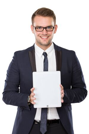 using tablet: portrait of Businessman presenting a tablet pc, smiling. ready for your design