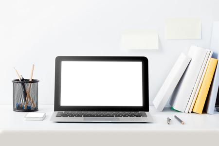 full portrait of modern work desk concept on white background
