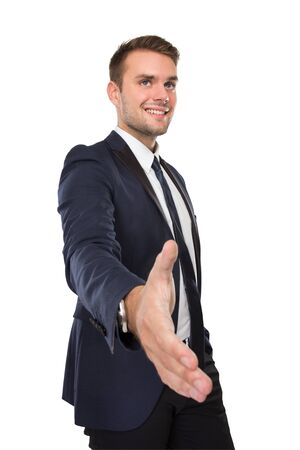 successful man: portrait of Businessman with handshake gesture, smiling. isolated over white background Stock Photo