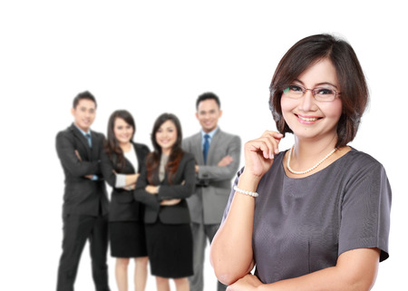 asian group: portrait of happy mature business women in front of her underlink Stock Photo