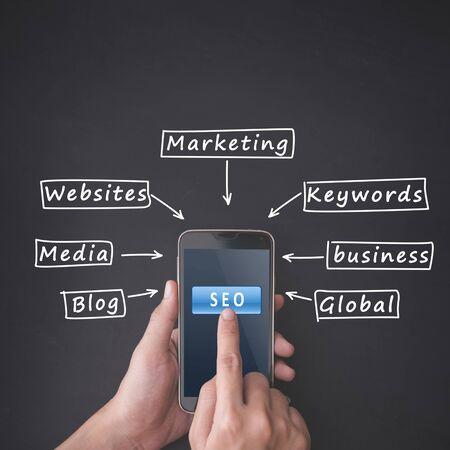 optimizer: Finger pressing SEO button on smartphone on chalkboard background