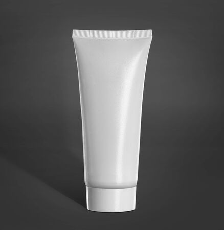 packaging box: Tube Of Cream Or Gel white plastic product mockup. over grey background