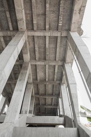 contruction: A portrait of an under-face of a bridge, bridge construction