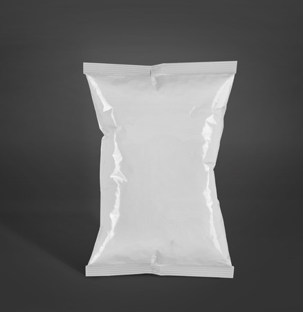 product packaging: potato chips plastic packaging or food container. mockup over grey background