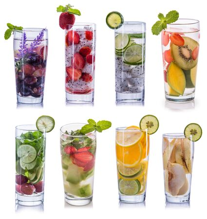 lime juice: set collection and compilation of fresh infused water isolated over white background Stock Photo