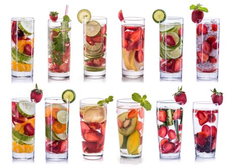 set collection and compilation of fresh infused water isolated over white background Stock Photo
