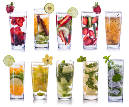 compilation: set collection and compilation of fresh infused water isolated over white background Stock Photo