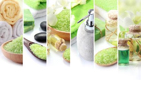 Un portrait de Green concept de spa collage. essensials savon et objets de spa. avec copyspace