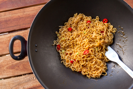 fried foods: top view of spicy indonesian fried noodle