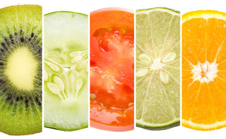 Refreshments: A portrait of five tropical fruit, close up Stock Photo