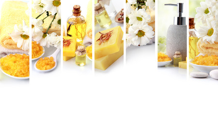 cosmetic product: A portrait of yellow spa concept collage. soap and essensials spa objects. with copyspace Stock Photo