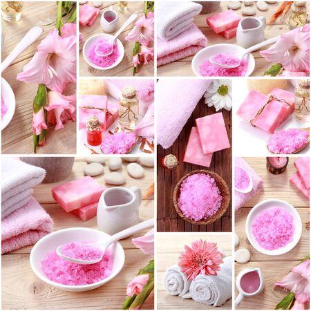 ピンクのスパのコンセプト コラージュの肖像画。石鹸と essensials のスパ オブジェクト 写真素材
