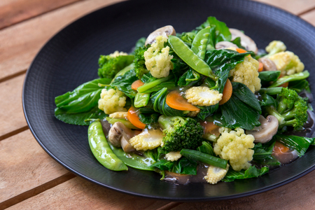 close up portrait of vegetarian chinese food cap cay Standard-Bild