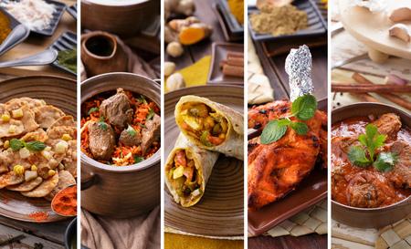 mat: Ett porträtt av olika indisk mat buffé, collage