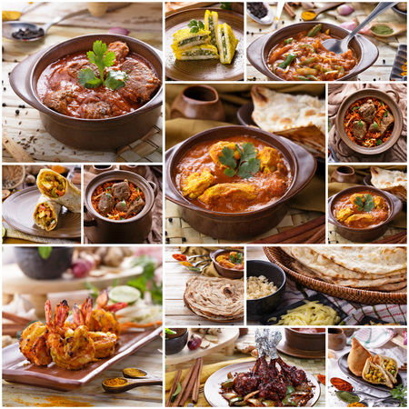 buffet dinner: A portrait of various indian food buffet, collage Stock Photo