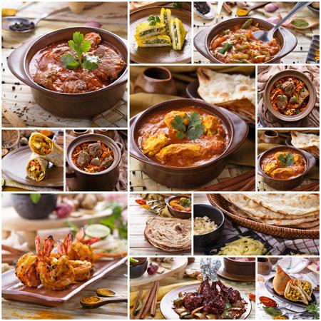 foodâ: Un retrato de varios buffet de comida india, collage Foto de archivo