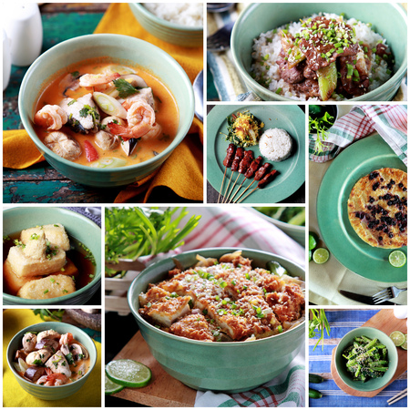 indonesian food: A portrait of fusion various Indonesian food, close up Stock Photo