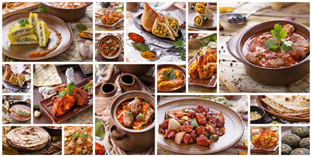A portrait of various indian food buffet, collage Foto de archivo