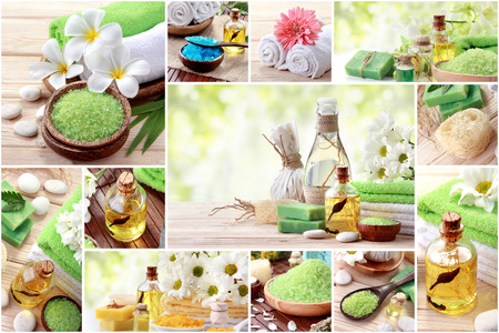 spa objects: A portrait of Green spa concept collage. soap and essensials spa objects