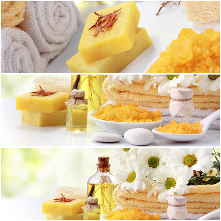 spa objects: A portrait of yellow spa concept collage. soap and essensials spa objects. with copyspace Stock Photo