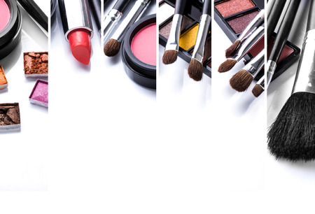 mujer maquillandose: Un retrato de maquillaje y sus diversos cepillos, de cerca. con copyspace para el texto