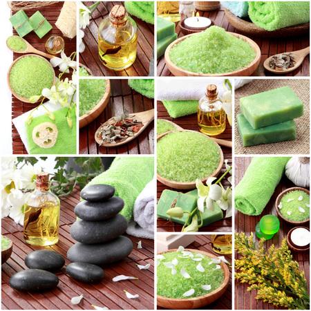 productos de aseo: Un retrato de verde concepto de spa collage. objetos de spa jabón y essensials