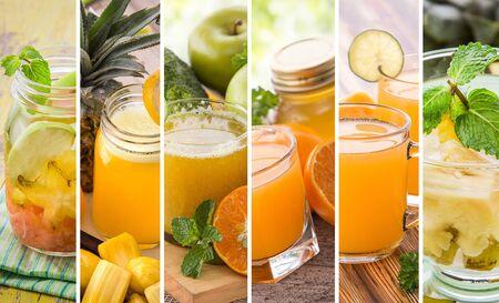 juice: A collage portrait of various orange color juices from tropical fruit