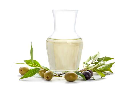 olive: olives and olive oil isolated on white background