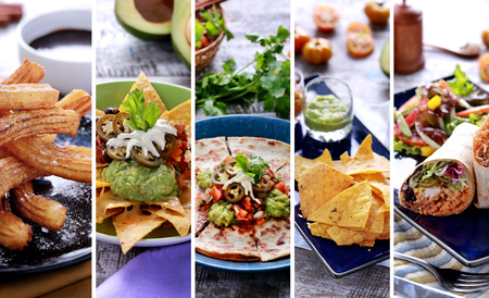 A portrait of various mexican food buffet, close up Stock Photo