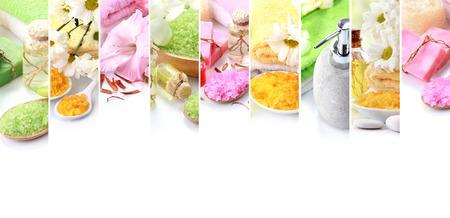 Portret van spa concept collage. zeep en essensials spa objecten. met copyspace