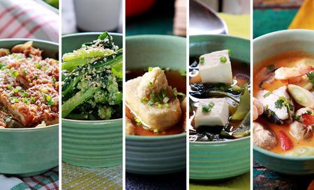 융합 다양한 인도네시아어 음식의 초상화를 닫습니다, 스톡 콘텐츠