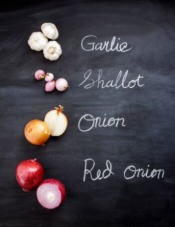 description: portrait of garlic, shallot, onion, and red onion on black board with inscription