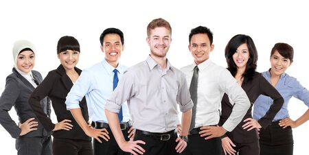 group of persons: A portrait of a Group of mix race young businessperson