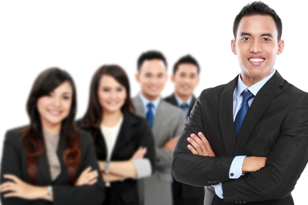 team leadership: A portrait of a group of asian young businessperson. team leader Stock Photo