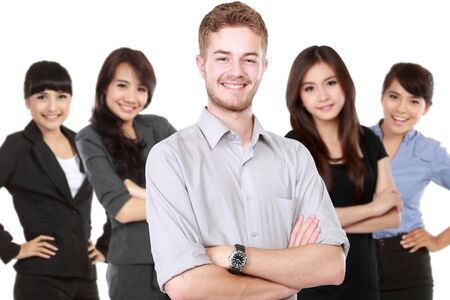 work team: A portrait of a group of asian young businessperson. team leader Stock Photo