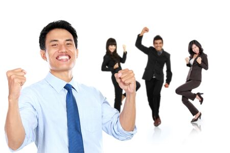 office staff: A portrait of a group of asian young businessperson, isolated in white background