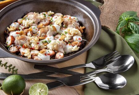 prawn: portait of delicious fresh seafood rice served on claypot