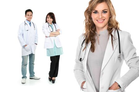 group of medical workers isolated over white background photo