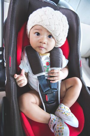 car safety: portrait of a baby in a safety car seat. Safety and security