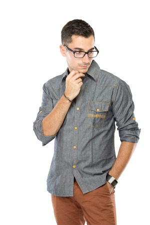 casualy: A portrait of a Young man posing casualy, isolated