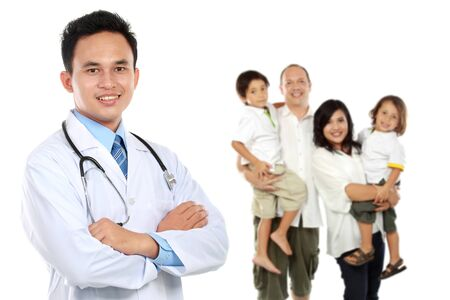 professional people: portrait of medical doctor and  patient in the background. healthy family concept