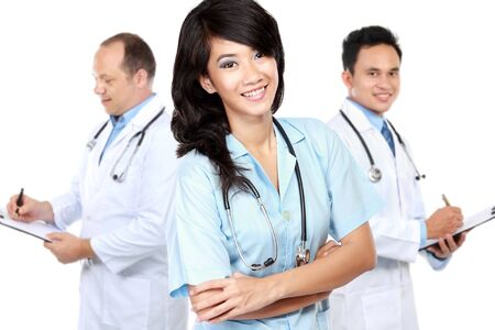 group of workers: group of medical workers isolated over white background