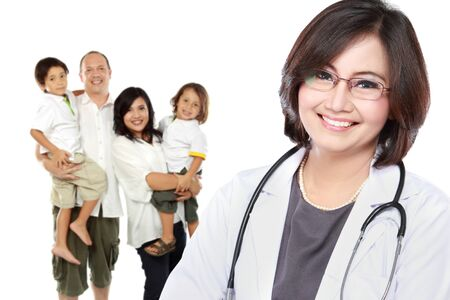 portrait of medical doctor and  patient in the background. healthy family concept photo