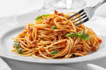 close up portrait of italian cuisine spaghetti bolognese