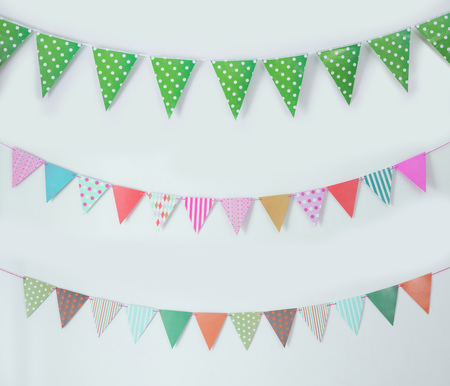 portrait of birthday flag banner chain decoration Imagens - 62207134