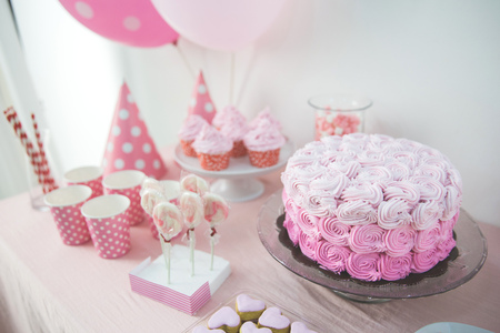 sugarpaste: portrait of birthday party supplies. sweet corner with cake, lollies, cookies and candy Stock Photo