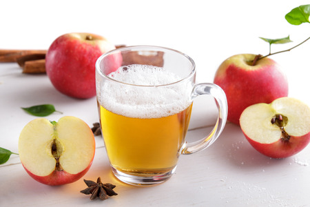 portrait of a glass of hard apple cider ready to drink