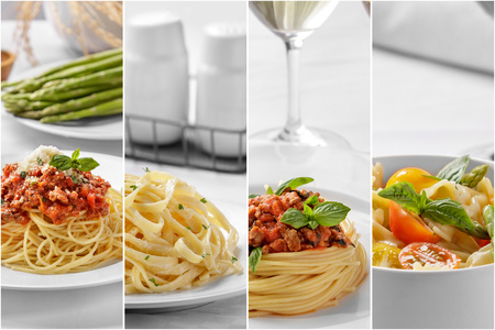 Collage del retrato de espaguetis comida italiana casera con queso y todos los ingredientes Foto de archivo - 64597066