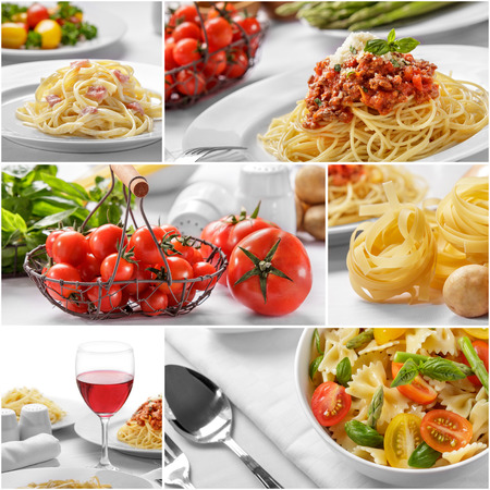 collage portrait of homemade italian food spaghetti with cheese and all of the ingredients Stock Photo